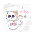 cute and sad hand drawn kitten in a cup with love vector image vector image