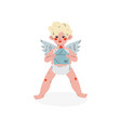 cute funny cupid holding envelope with love letter vector image