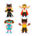 cute kids super hero teens characters set flat vector image vector image