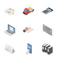 data play icons set isometric style vector image vector image