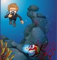 diver diving in deep blue sea vector image