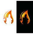 flame and face logo template vector image vector image