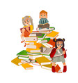 flat boy girl reading sitting at big book vector image vector image