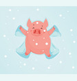 funny pig in the snow makes snow angel vector image vector image