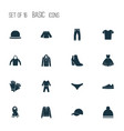 garment icons set with knickers boots sweatshirt vector image vector image