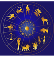 Golden zodiac icons in a circle vector image vector image
