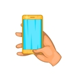 Hand works on a mobile phone icon cartoon style vector image vector image