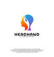 head care logo head intelligence logo designs vector image vector image