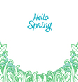 Hello Spring Text With Grass In Outline Background vector image