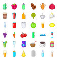 hot drink icons set cartoon style vector image vector image