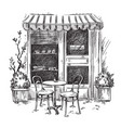 little cosy cafe sketch vector image vector image