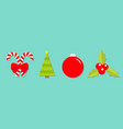 merry christmas set line candy cane bow fir tree vector image