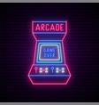neon arcade game machine sign glowing vector image vector image