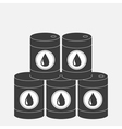 Oil barrel pyramid set with oil drop sign icon vector image