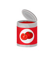 open aluminum can of delicious tomato soup or vector image