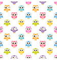 pattern with colorful funny owls vector image vector image
