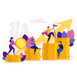 people ascending by coins graph financial growth vector image