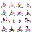 people riding bikes outdoor activities group of vector image