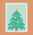 pine tree celebration happy christmas stamp vector image vector image