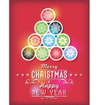 Red Christmas card with snowflakes and greeting te vector image