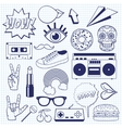 Retro cartoon icons on a squared notebook sheet vector image vector image