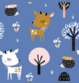 seamless childish pattern with cute deer hedgehog vector image vector image