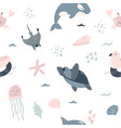 seamless pattern baby print with cute sea animals vector image vector image