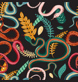 seamless pattern with snakes and plants colorful vector image vector image