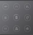 set of 9 editable trip icons includes symbols vector image vector image