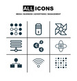 set of 9 robotics icons includes computing vector image