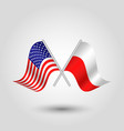 two crossed american and polish flags vector image vector image