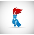 Victory Flame Symbol Hand Hold Fire Torch Icon