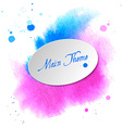 Watercolor design element pink-blue spot for the vector image vector image