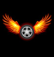 wheel with fire wings on black vector image vector image