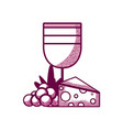 wine cup with grapes and cheese vector image vector image