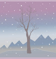 winter tree on a cold looking background with vector image