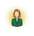 Woman in a green blazer with headset comics icon vector image vector image