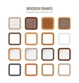 Wooden Rounded Square Banners Set vector image