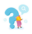 young woman leaning on huge question mark vector image