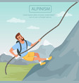 bearded man climbing on mountain using rope vector image