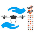 airdrone care hands icon with love bonus vector image vector image