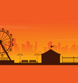 amusement park landscape silhouette at sunset vector image
