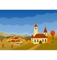 autumn landscape with hills and village vector image vector image