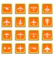 aviation icons set orange vector image