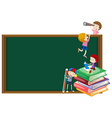 Background template with kids and blackboard vector image vector image