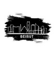 beirut lebanon city skyline silhouette hand drawn vector image vector image