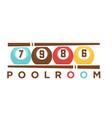 billiard club poolroom label template of vector image