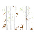 birch tree with deer and birds vector image vector image
