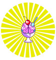 brain icecream funny cartoon icon vector image