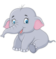 Cartoon baby elephant sitting isolated vector image vector image